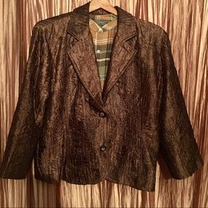 Chico's Chocolate Brown Crinkle Jacket Size 3(XL)